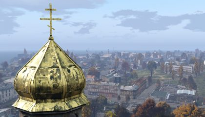 Overlooking the city of Berezino, an iconic place in the survival game DayZ