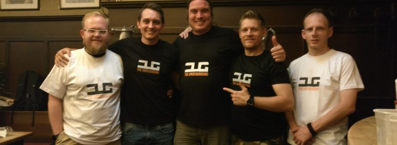 Ammo (middle) meeting Martin (ex Brand & PR Manager), Peter (ex Lead Designer) and Adam (Lead Map Designer) from the DayZ dev team during Gamescom 2018.