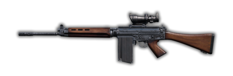 A FAL with wooden furniture is part of the DayzUnderground mod.