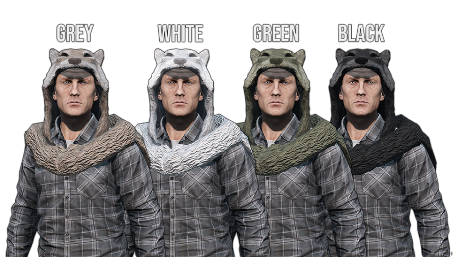 A craftable wolf pelt headdress made by Valdark for the DayzUnderground mod.