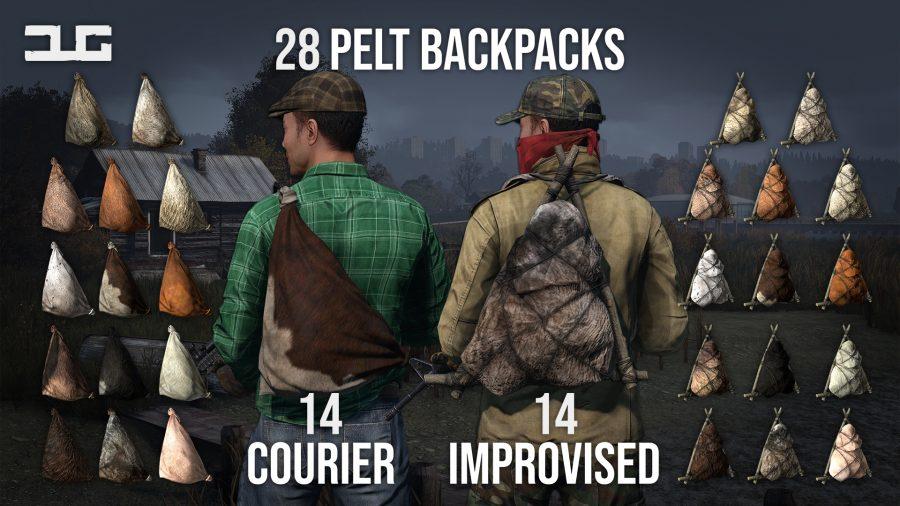 improvised pelt backpacks of all dayz animals in dug mod